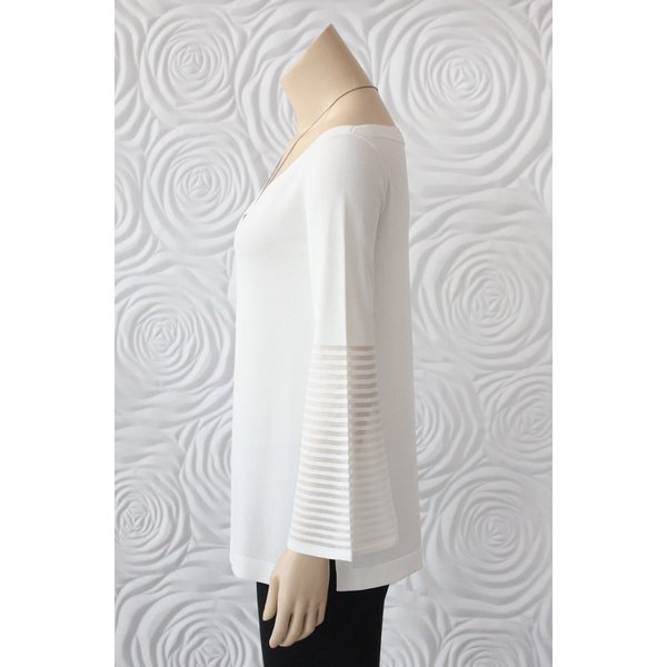 D Exterior V-neck Knit with Mesh Sleeve