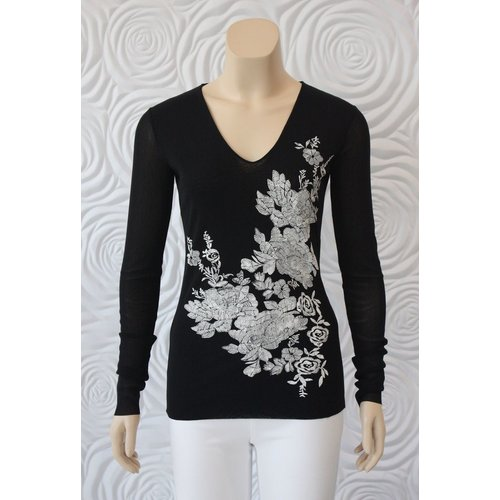 D Exterior D Exterior Long Sleeve Tulle Top with Floral Print