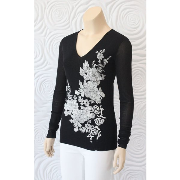 D Exterior Long Sleeve Tulle Top with Floral Print