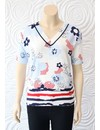 Leo & Ugo Knit Top with Red White and Blue Floral Detail