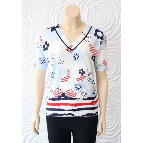 Leo Guy Leo & Ugo Knit Top with Red White and Blue Floral Detail