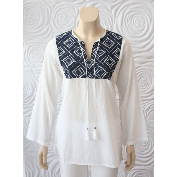 Madison Mathews Tunic Top with Embroidered Details