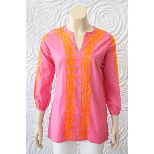 Madison Matthews Madison Mathews Tunic With Embroidered Sleeve