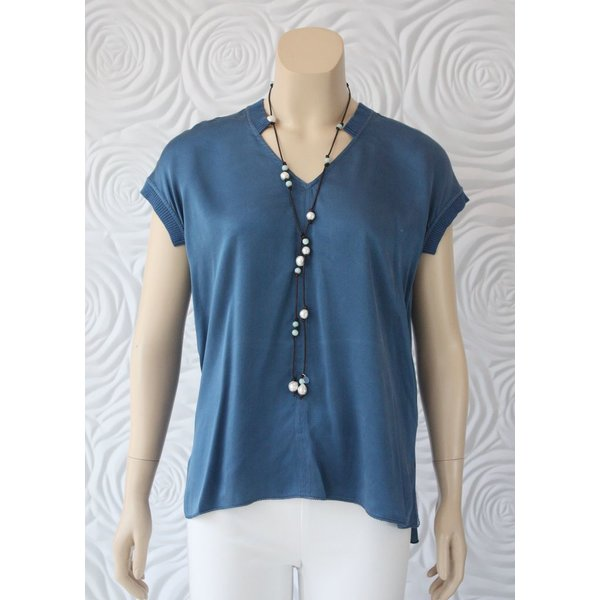 Go Silk Sleeveless Top with Knit Trim