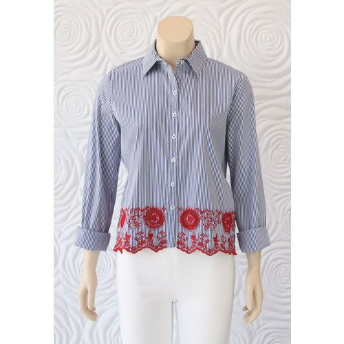 Gerry Weber Gerry Weber Button Down Blouse With Stripes and Lace Detail