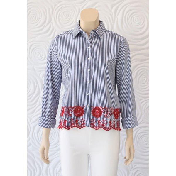 Gerry Weber Button Down Blouse With Stripes and Lace Detail