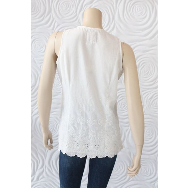 Alicia Bell Sleeveless Lined Top with Embroidered Detail on the Scalloped Bottom