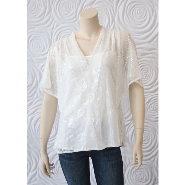 Eva Franco Sequin Tunic Top with Attached Silk Camisole