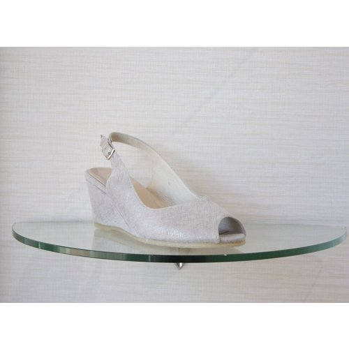 Spiffy Shoes Spiffy Low Wedge with Ankle Strap and Open Toe in SIlver