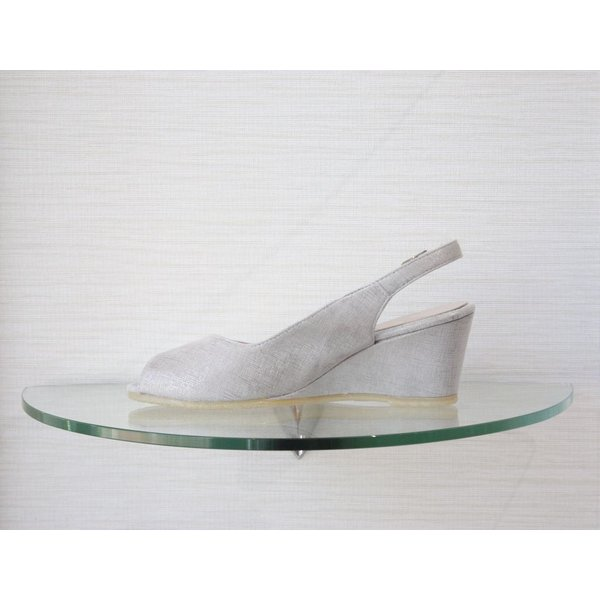 Spiffy Low Wedge with Ankle Strap and Open Toe in SIlver