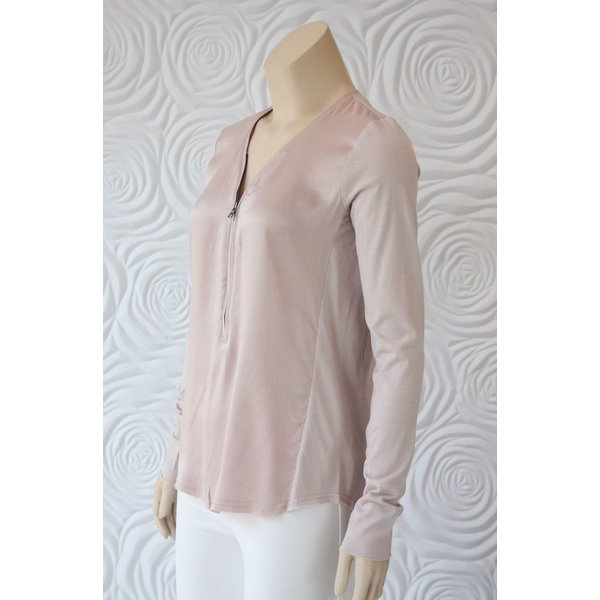 Go Silk Long Sleeve Top with Zipper Front