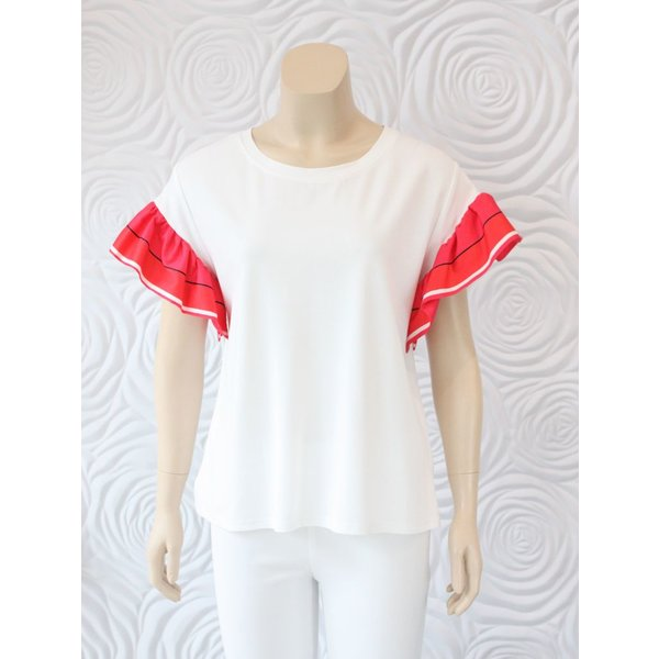 Weill Knit Top with Silk Short Flutter Sleeve