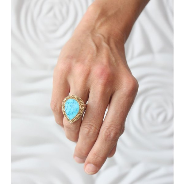 La Costa Tear Gem Turquoise All Gold