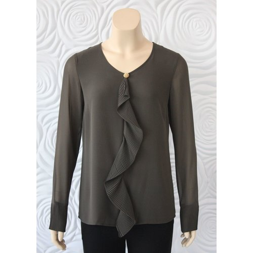 Weill Weill Forest Green Blouse with Ruffle Front Detail and Pleats at the Sleeve