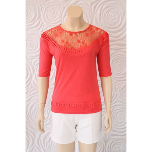 Leo Guy Leo & Ugo Knit Top With Lace on Shoulder Neck Line