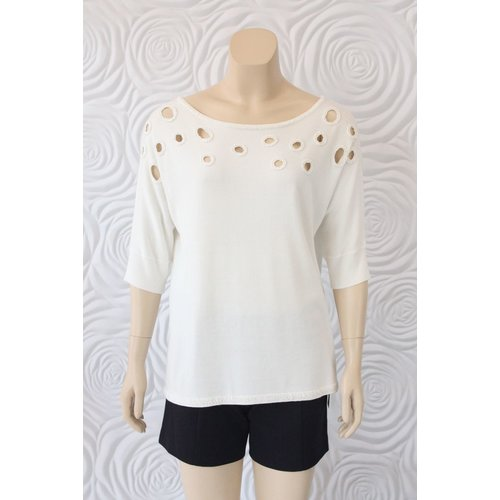 Leo Guy Leo Ugo Knit Top With Cut Out Beading Details At Collar