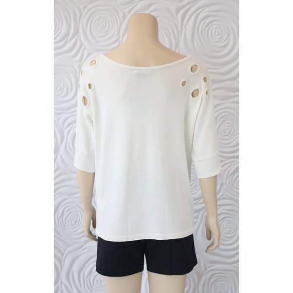 Leo Ugo Knit Top With Cut Out Beading Details At Collar