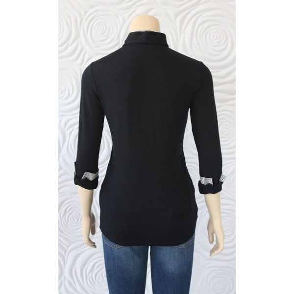 Valentina Blouse With Houndstooth Collar
