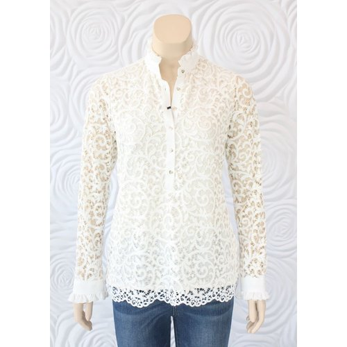 Valentina Valentina Lace Long Sleeve Blouse with Ruffle Collar