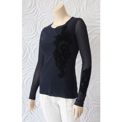 D Exterior D Exterior Tulle Top with Felt Detail in Navy