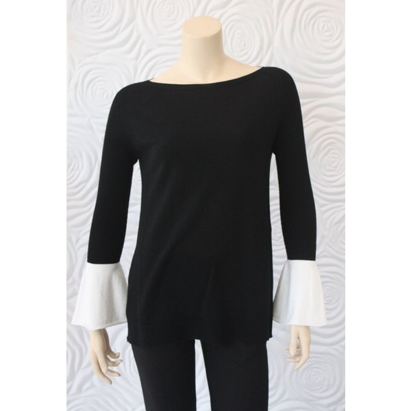 D Exterior Sweater Top with Wrist Detail in Black