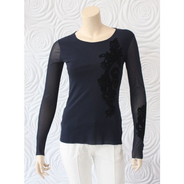 D Exterior Tulle Top with Felt Detail in Navy