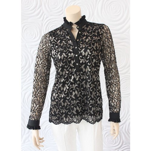 Valentina Valentina Long Sleeve Lace Blouse with Ruffle Collar in Black