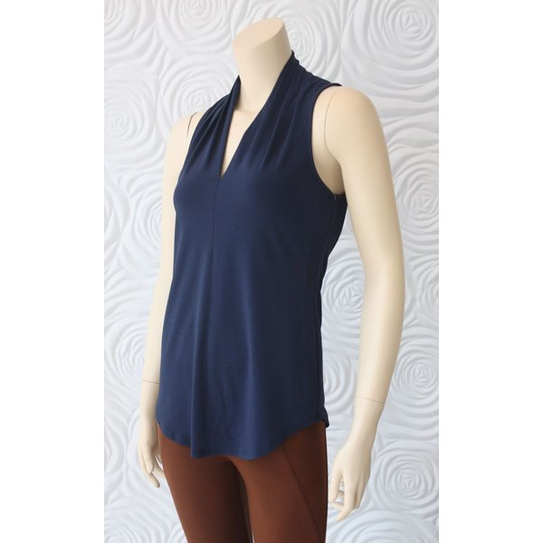 Iris Sleeveless Top with V-Neck in Midnight Blue