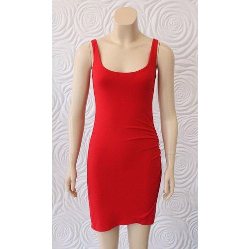 Susana Monaco Susana Monaco Tank Dress with Gathered Overlay in Red