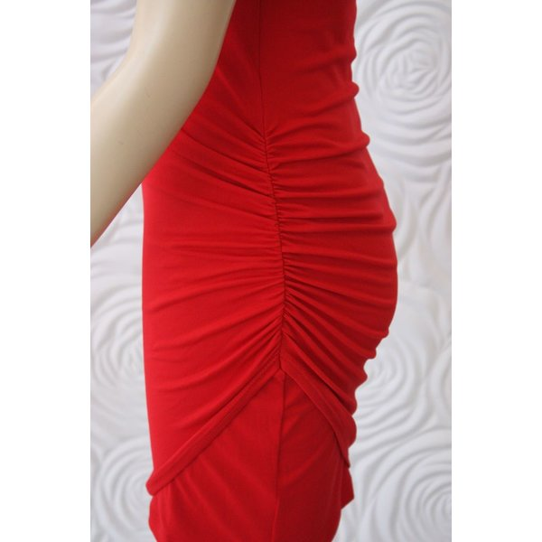 Susana Monaco Tank Dress with Gathered Overlay in Red