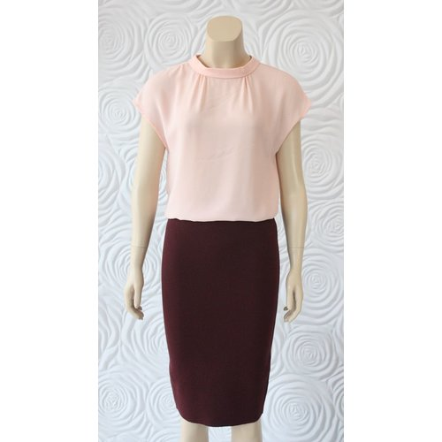 Weill Weill Silk Blouse with High Collar in Pink