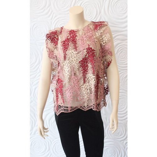 Once Was Once Was Amytis Lace Swing Top with Cami in Pink
