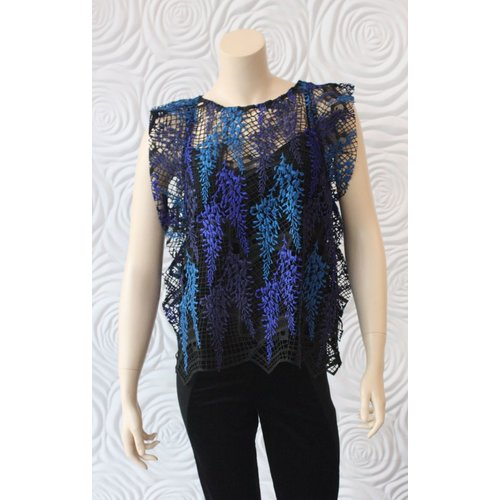 Once Was Once Was Amytis Lace Swing Top with Cami in Blue