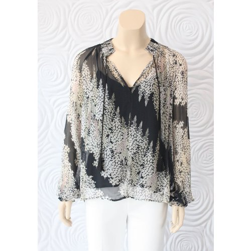 Once Was Once Was Salome Pleat Detail Printed Yoryu Top