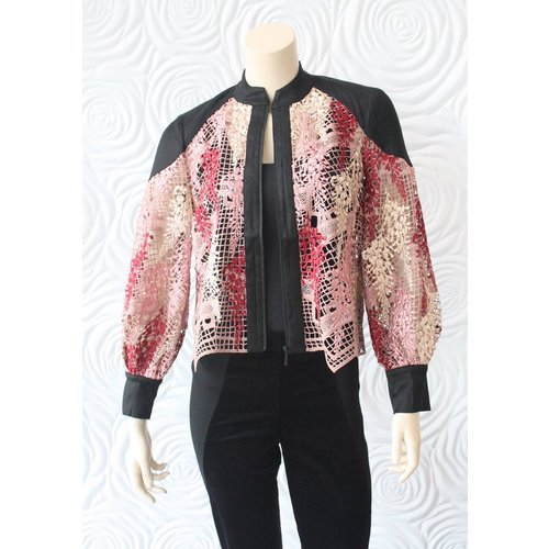 Once Was Once Was Amytis Lace Bomber Jacket in Pink