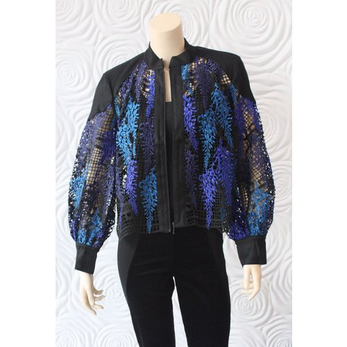 Once Was Once Was Amytis Lace Bomber Jacket in Blue