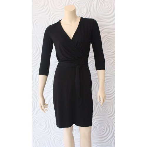 Nora Gardner Nora Gardner Black 3/4 Sleeve Dress with Wrap Detail