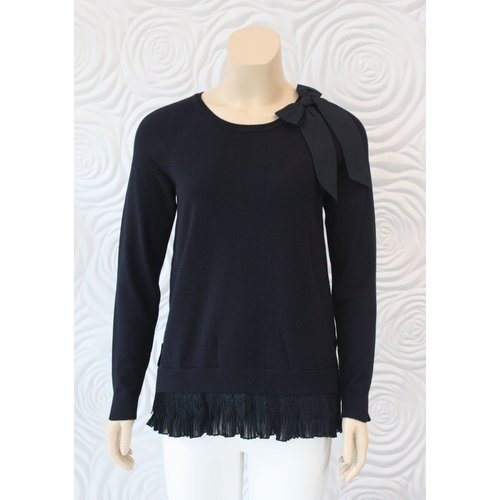 Leo Guy Leo & Ugo Knit Blouse with Lace and Knife Pleat Trim