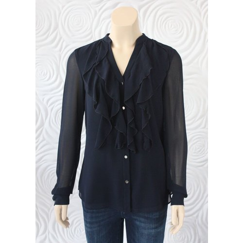 Iris Iris Ruffle Front Blouse With Long Sleeves