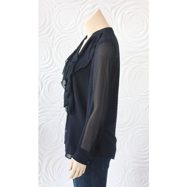 Iris Ruffle Front Blouse With Long Sleeves