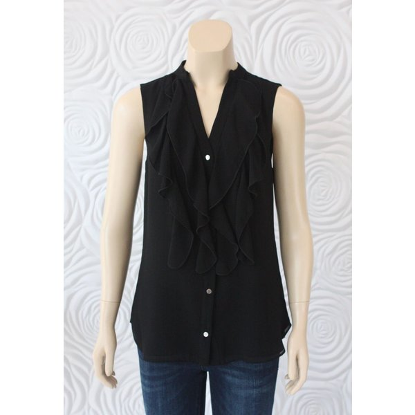 Iris Top With Draped Front in Black