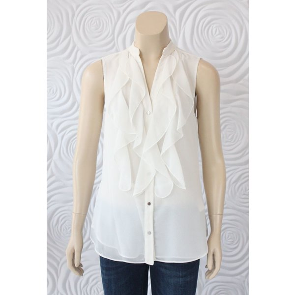 Iris Top With Draped Front in Ivory