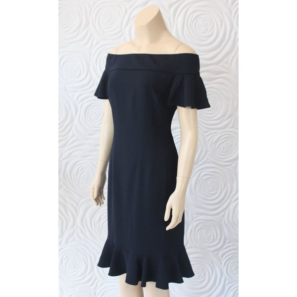 Camilyn Beth Off The Should Darted Dress with Flutter Hem
