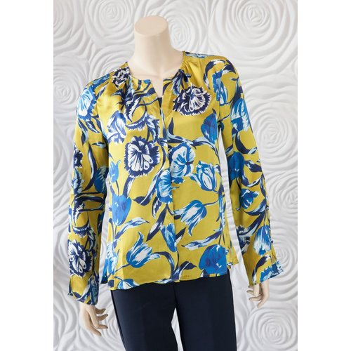 Ecru Ecru Floral Silk Button Down