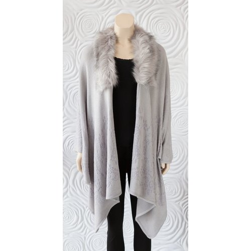 Rino & Pelle Rino and Pelle Faux Fur Wrap Light Grey