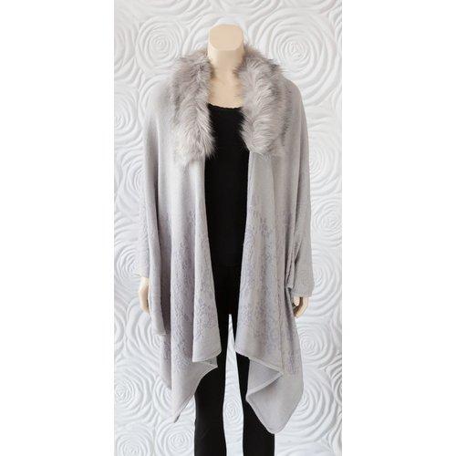 Rino & Pelle Rino and Pelle Faux Fur Wrap Light Grey
