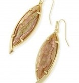 Maxwell Earring - Gold Crackle Brown Mother of Pearl