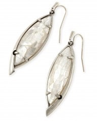 Maxwell Earring - Antique Silver Crackle Ivory Mother of Pearl