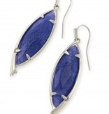 Maxwell Earring - Rhodium Crackle Blue Agate