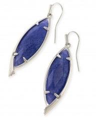 Maxwell Earring - Rhodium Crackle Blue Agate